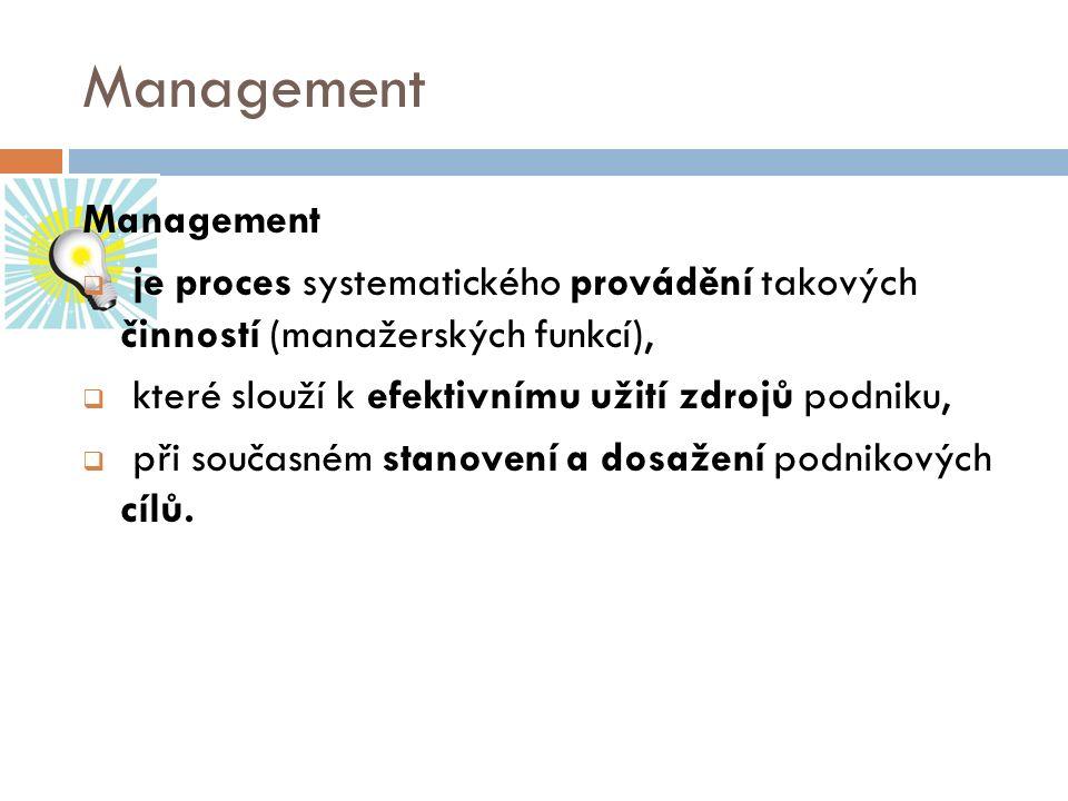Management  je proces systematického provádění takových činností (manažerských funkcí),  které slouží k efektivnímu užití zdrojů podniku,  při souč