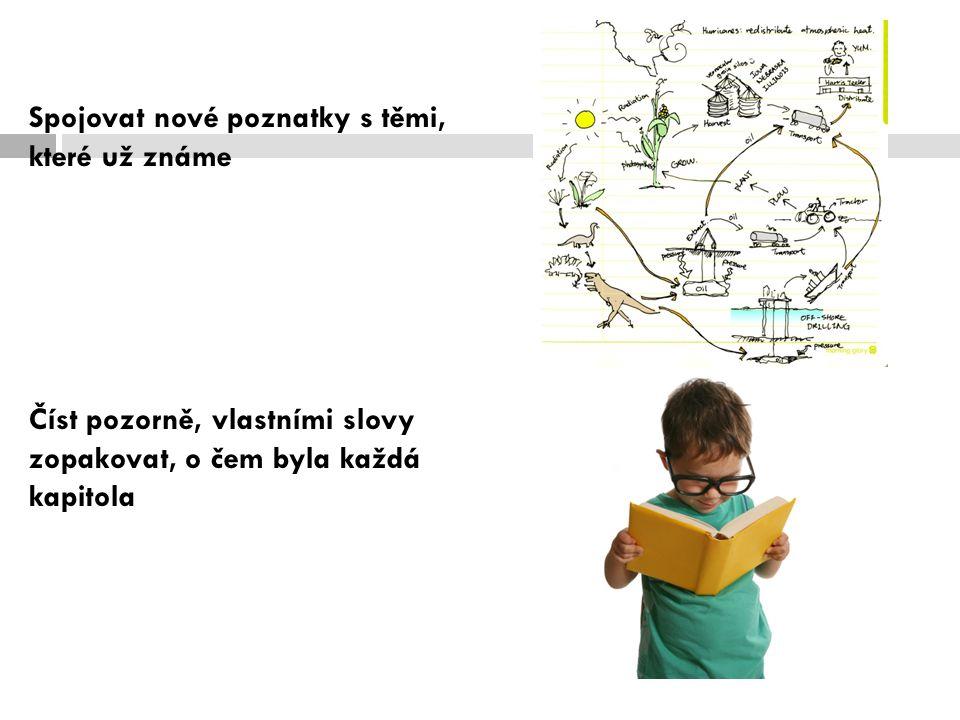 Spojovat nové poznatky s těmi, které už známe Číst pozorně, vlastními slovy zopakovat, o čem byla každá kapitola