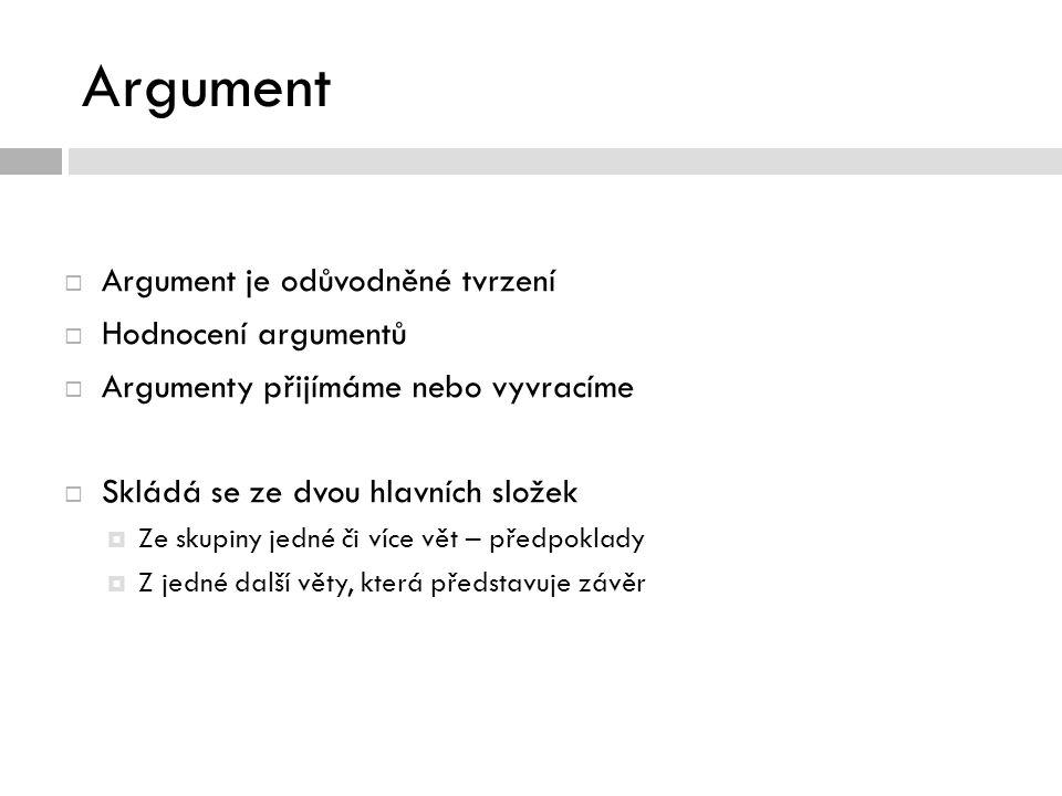 Argument  Argument je odůvodněné tvrzení  Hodnocení argumentů  Argumenty přijímáme nebo vyvracíme  Skládá se ze dvou hlavních složek  Ze skupiny jedné či více vět – předpoklady  Z jedné další věty, která představuje závěr