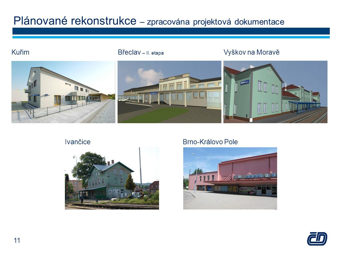 Plánované rekonstrukce – zpracována projektová dokumentace Vyškov na MoravěBřeclav – II. etapa Kuřim IvančiceBrno-Královo Pole 11