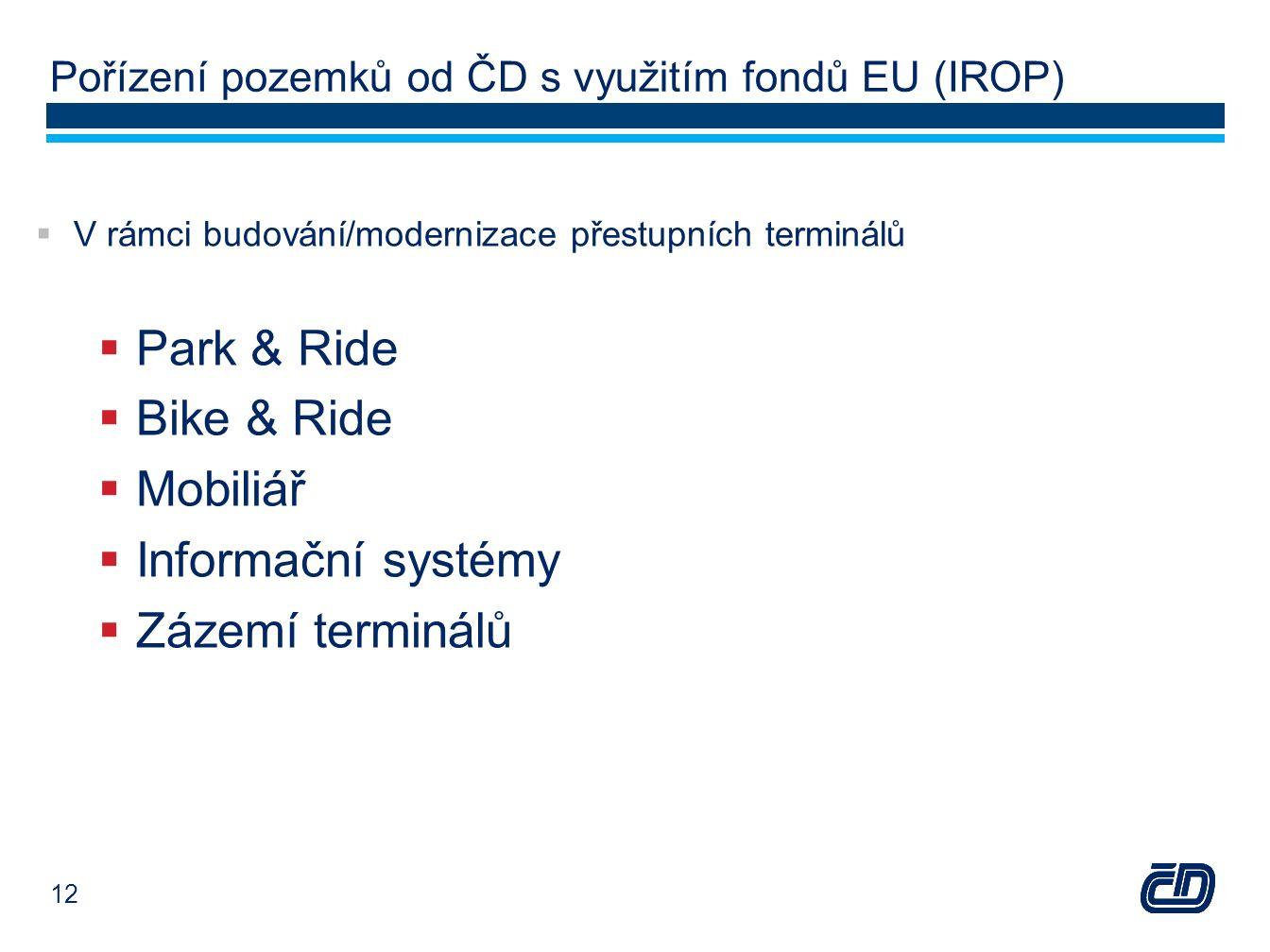 Pořízení pozemků od ČD s využitím fondů EU (IROP)  V rámci budování/modernizace přestupních terminálů  Park & Ride  Bike & Ride  Mobiliář  Inform