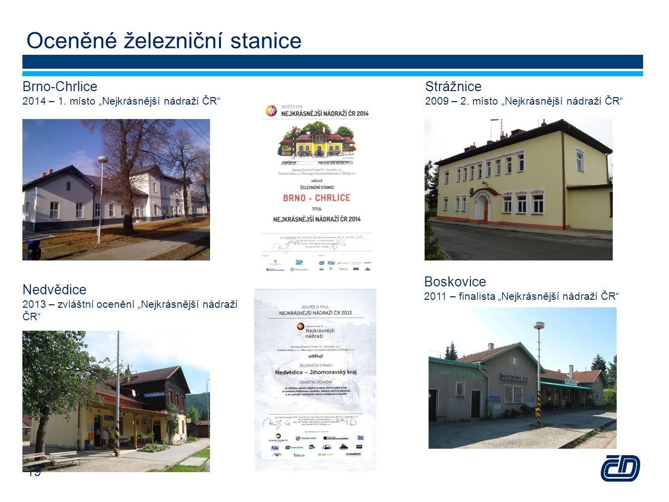 """Oceněné železniční stanice Strážnice 2009 – 2. místo """"Nejkrásnější nádraží ČR"""" Brno-Chrlice 2014 – 1. místo """"Nejkrásnější nádraží ČR"""" Nedvědice 2013 –"""
