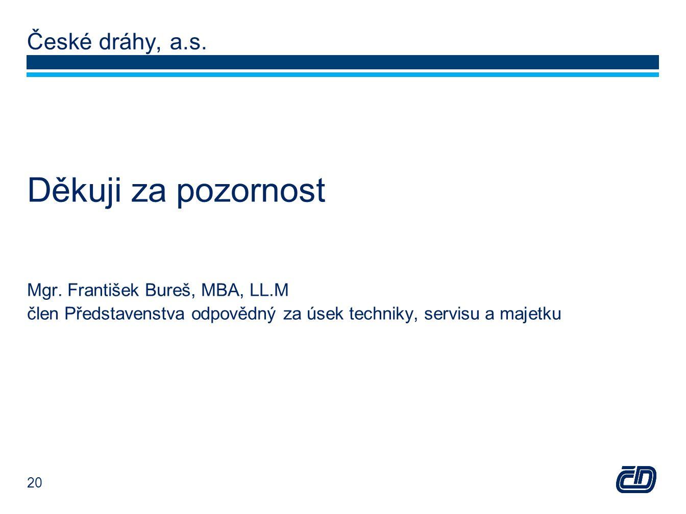 České dráhy, a.s. Děkuji za pozornost Mgr. František Bureš, MBA, LL.M člen Představenstva odpovědný za úsek techniky, servisu a majetku 20