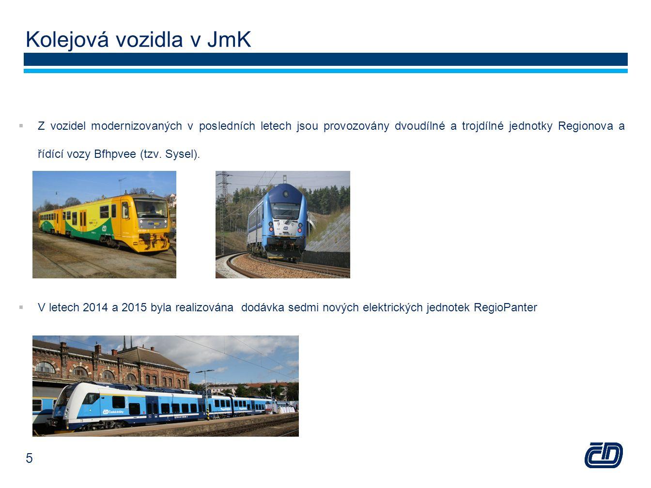 Kolejová vozidla v JmK  Z vozidel modernizovaných v posledních letech jsou provozovány dvoudílné a trojdílné jednotky Regionova a řídící vozy Bfhpvee