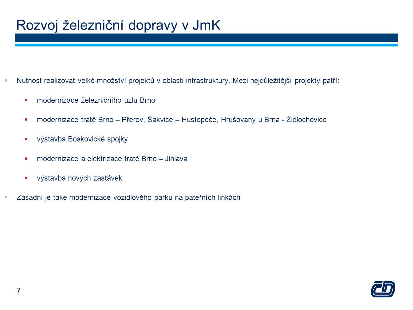 Rozvoj železniční dopravy v JmK  Nutnost realizovat velké množství projektů v oblasti infrastruktury. Mezi nejdůležitější projekty patří:  moderniza