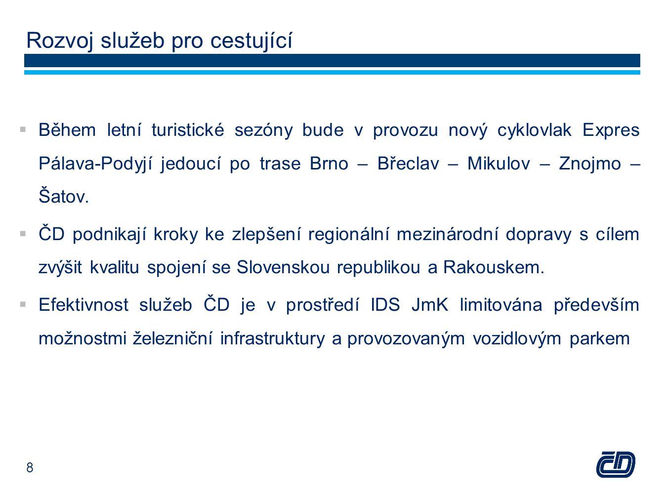 Rozvoj služeb pro cestující  Během letní turistické sezóny bude v provozu nový cyklovlak Expres Pálava-Podyjí jedoucí po trase Brno – Břeclav – Mikul
