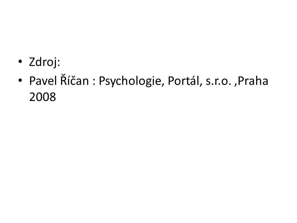 Zdroj: Pavel Říčan : Psychologie, Portál, s.r.o.,Praha 2008