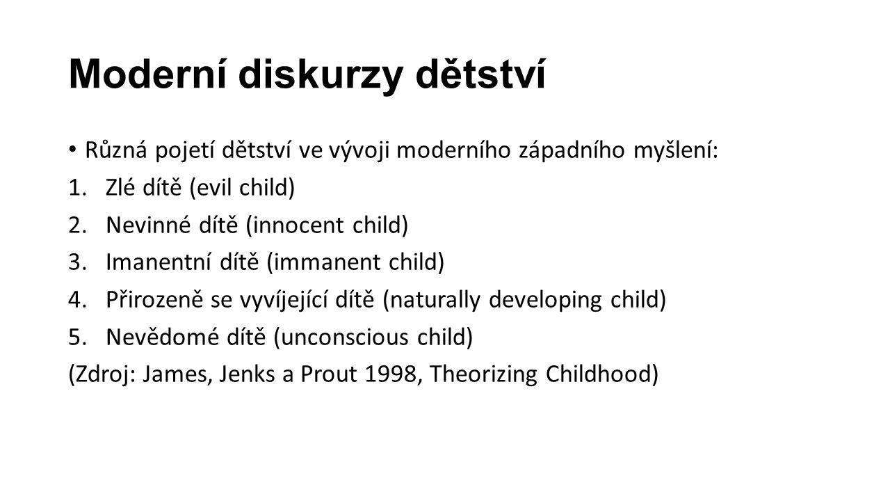 Moderní diskurzy dětství Různá pojetí dětství ve vývoji moderního západního myšlení: 1.Zlé dítě (evil child) 2.Nevinné dítě (innocent child) 3.Imanentní dítě (immanent child) 4.Přirozeně se vyvíjející dítě (naturally developing child) 5.Nevědomé dítě (unconscious child) (Zdroj: James, Jenks a Prout 1998, Theorizing Childhood)