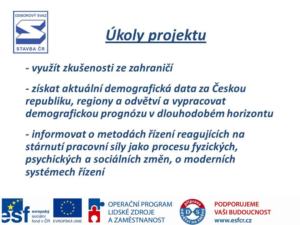 Úkoly projektu - využít zkušenosti ze zahraničí - získat aktuální demografická data za Českou republiku, regiony a odvětví a vypracovat demografickou prognózu v dlouhodobém horizontu - informovat o metodách řízení reagujících na stárnutí pracovní síly jako procesu fyzických, psychických a sociálních změn, o moderních systémech řízení
