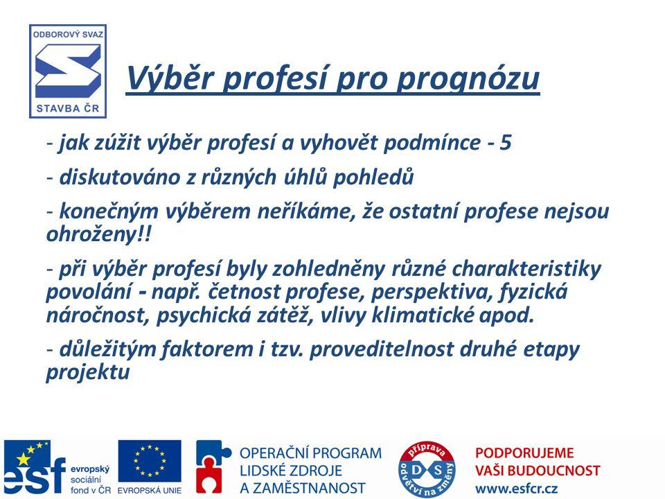 Výběr profesí pro prognózu - jak zúžit výběr profesí a vyhovět podmínce - 5 - diskutováno z různých úhlů pohledů - konečným výběrem neříkáme, že ostatní profese nejsou ohroženy!.