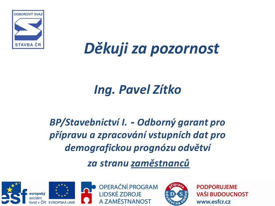 Děkuji za pozornost Ing. Pavel Zítko BP/Stavebnictví I.