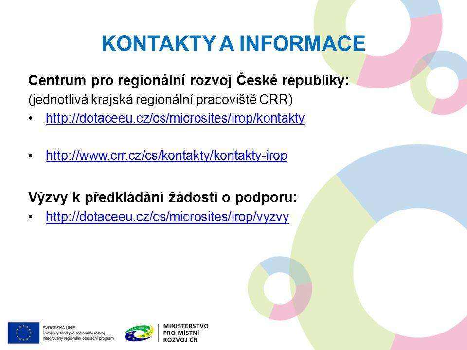 KONTAKTY A INFORMACE Centrum pro regionální rozvoj České republiky: (jednotlivá krajská regionální pracoviště CRR) http://dotaceeu.cz/cs/microsites/irop/kontakty http://www.crr.cz/cs/kontakty/kontakty-irop Výzvy k předkládání žádostí o podporu: http://dotaceeu.cz/cs/microsites/irop/vyzvy