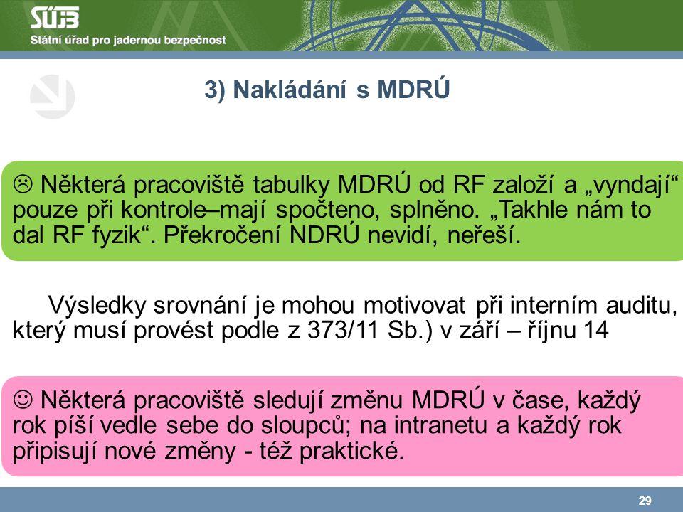 """3) Nakládání s MDRÚ  Některá pracoviště tabulky MDRÚ od RF založí a """"vyndají pouze při kontrole–mají spočteno, splněno."""