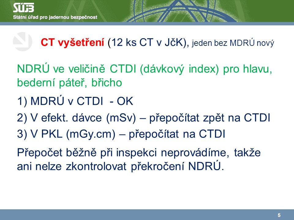 CT vyšetření (12 ks CT v JčK), jeden bez MDRÚ nový NDRÚ ve veličině CTDI (dávkový index) pro hlavu, bederní páteř, břicho 1) MDRÚ v CTDI - OK 2) V efekt.