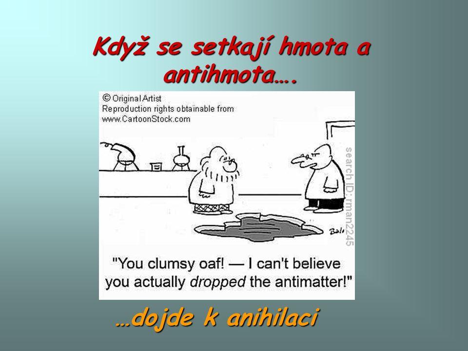 Když se setkají hmota a antihmota…. …dojde k anihilaci