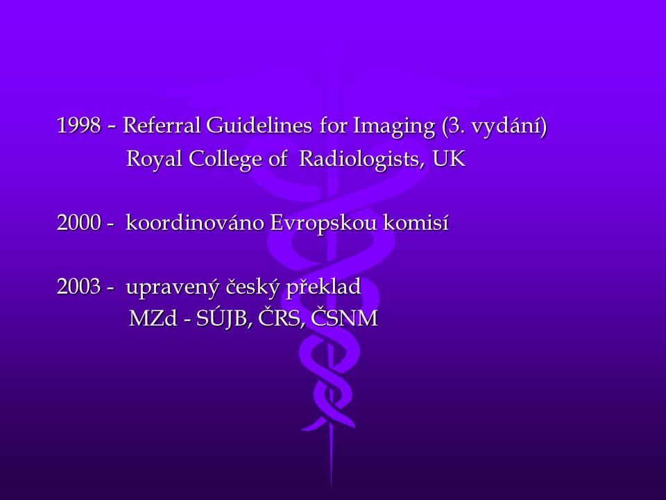 1998 - Referral Guidelines for Imaging (3. vydání) Royal College of Radiologists, UK Royal College of Radiologists, UK 2000 - koordinováno Evropskou k