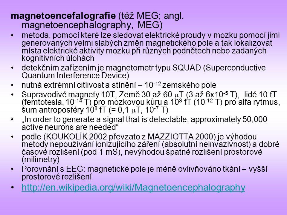 magnetoencefalografie (též MEG; angl. magnetoencephalography, MEG) metoda, pomocí které lze sledovat elektrické proudy v mozku pomocí jimi generovanýc