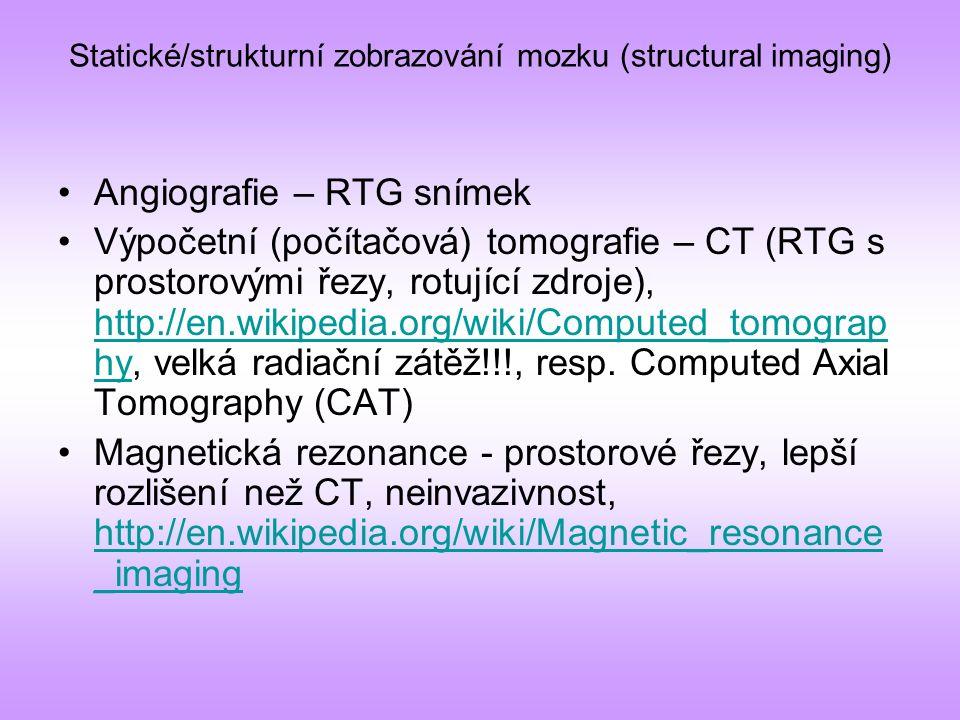 funkční zobrazování mozku Problémy: –Dostatečná prostorová lokalizace –Dostatečné časové rozlišení –Invazivnost/neinvazivnost metody –Cena –Sociální přijatelnost –Míra ovlivnění kognitivních funkcí procesem zkoumání –Nelze odlišit excitaci či inhibici http://en.wikipedia.org/wiki/Functional_neuroimaging