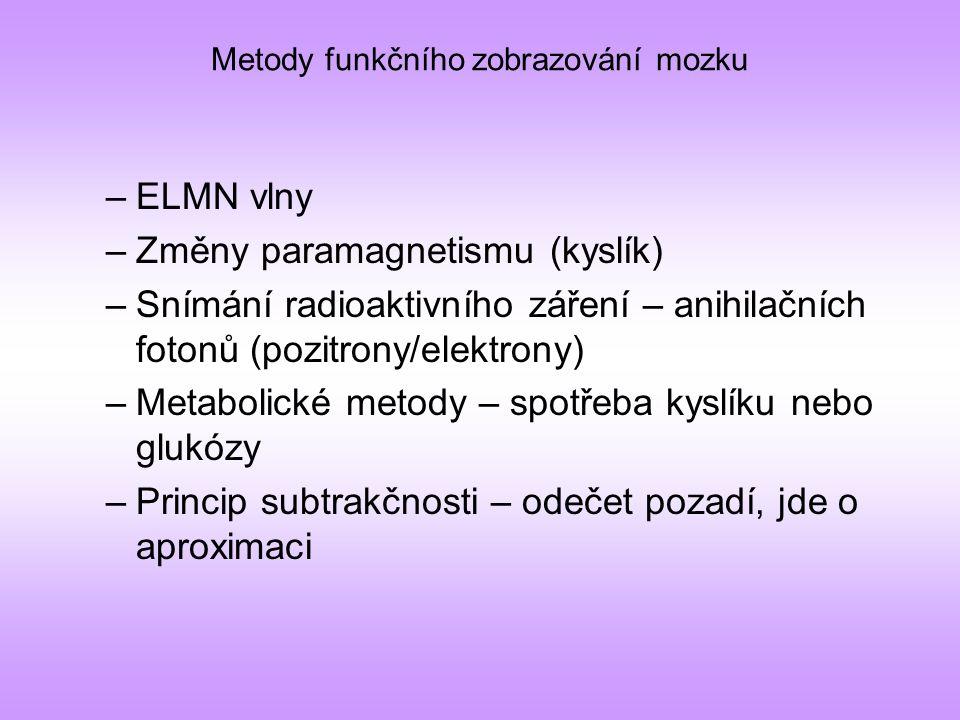Metody funkčního zobrazování mozku –ELMN vlny –Změny paramagnetismu (kyslík) –Snímání radioaktivního záření – anihilačních fotonů (pozitrony/elektrony