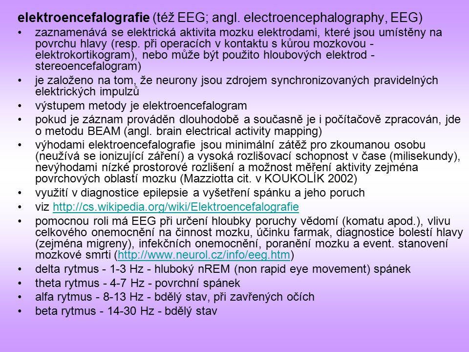 elektroencefalografie (též EEG; angl. electroencephalography, EEG) zaznamenává se elektrická aktivita mozku elektrodami, které jsou umístěny na povrch