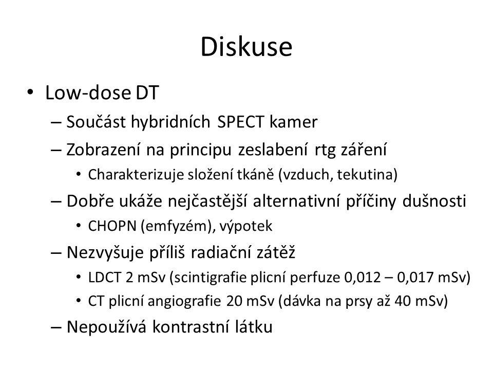 Diskuse Low-dose DT – Součást hybridních SPECT kamer – Zobrazení na principu zeslabení rtg záření Charakterizuje složení tkáně (vzduch, tekutina) – Dobře ukáže nejčastější alternativní příčiny dušnosti CHOPN (emfyzém), výpotek – Nezvyšuje příliš radiační zátěž LDCT 2 mSv (scintigrafie plicní perfuze 0,012 – 0,017 mSv) CT plicní angiografie 20 mSv (dávka na prsy až 40 mSv) – Nepoužívá kontrastní látku