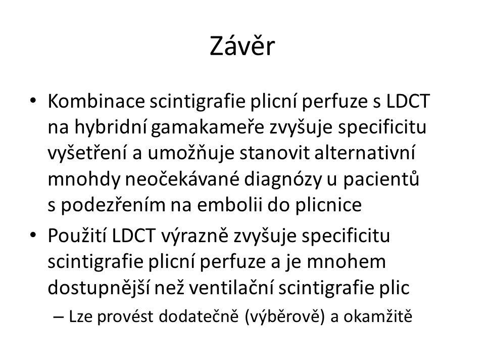 Závěr Kombinace scintigrafie plicní perfuze s LDCT na hybridní gamakameře zvyšuje specificitu vyšetření a umožňuje stanovit alternativní mnohdy neočekávané diagnózy u pacientů s podezřením na embolii do plicnice Použití LDCT výrazně zvyšuje specificitu scintigrafie plicní perfuze a je mnohem dostupnější než ventilační scintigrafie plic – Lze provést dodatečně (výběrově) a okamžitě