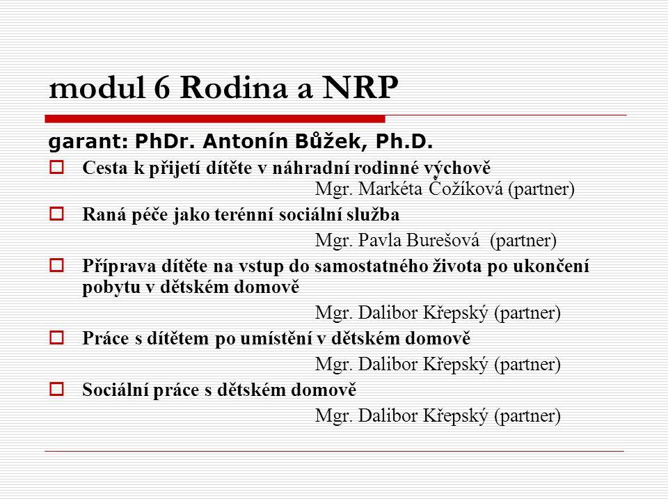 modul 6 Rodina a NRP garant: PhDr. Antonín Bůžek, Ph.D.