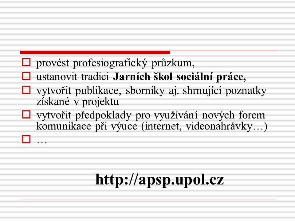  provést profesiografický průzkum,  ustanovit tradici Jarních škol sociální práce,  vytvořit publikace, sborníky aj.