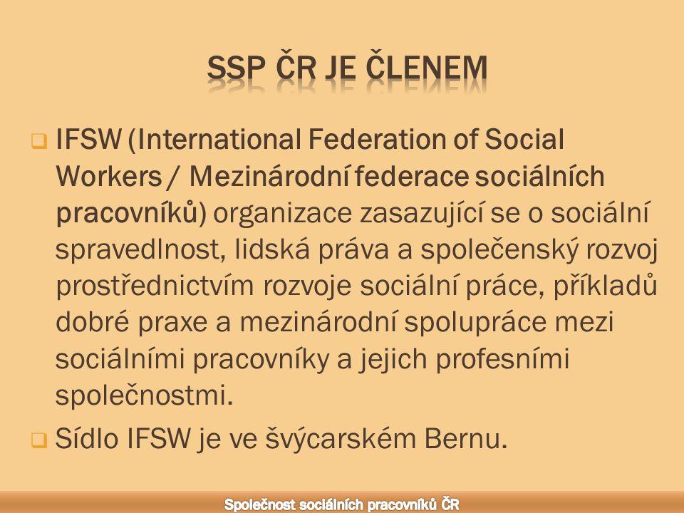  IFSW (International Federation of Social Workers / Mezinárodní federace sociálních pracovníků) organizace zasazující se o sociální spravedlnost, lidská práva a společenský rozvoj prostřednictvím rozvoje sociální práce, příkladů dobré praxe a mezinárodní spolupráce mezi sociálními pracovníky a jejich profesními společnostmi.