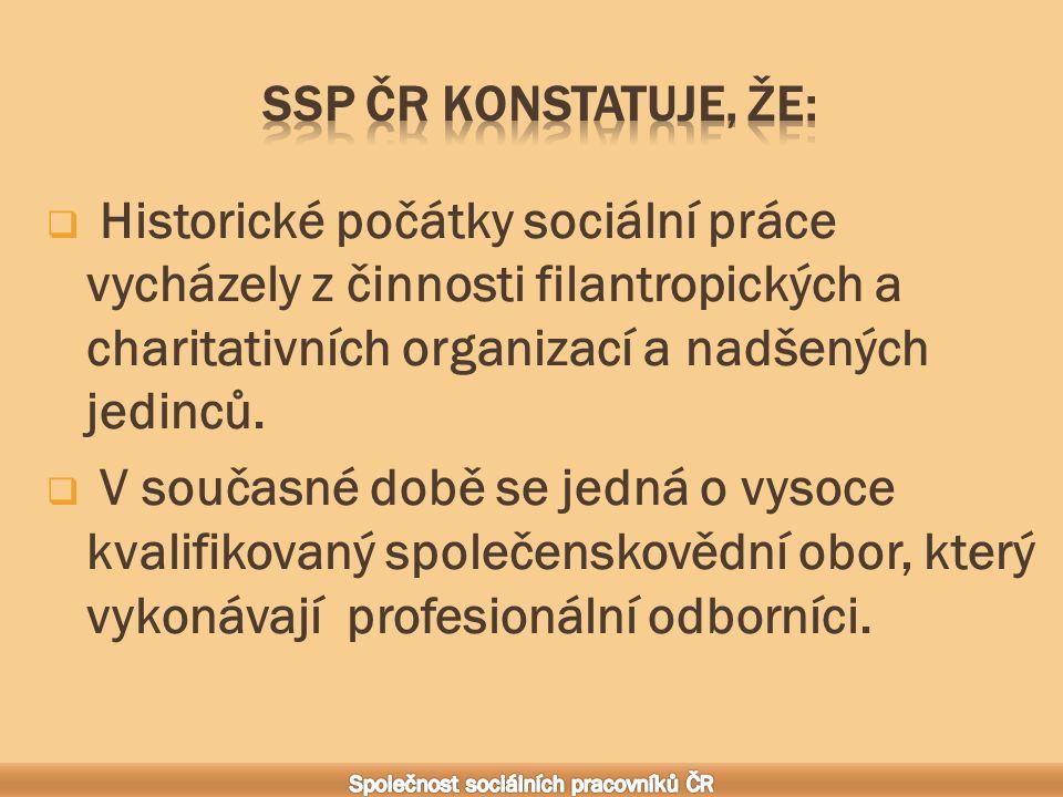  Historické počátky sociální práce vycházely z činnosti filantropických a charitativních organizací a nadšených jedinců.