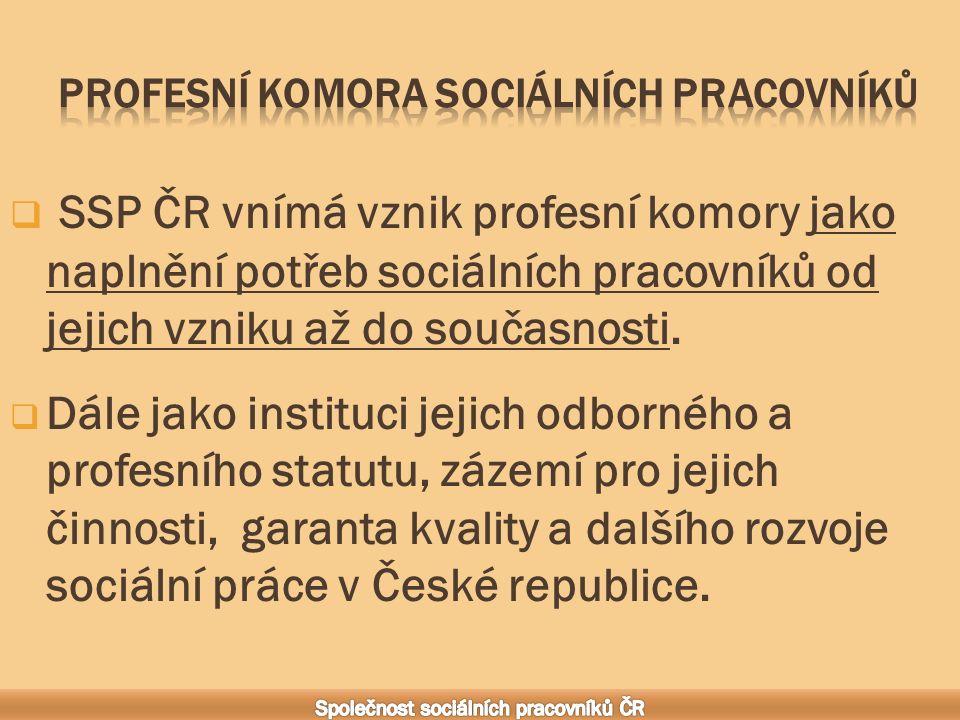  SSP ČR vnímá vznik profesní komory jako naplnění potřeb sociálních pracovníků od jejich vzniku až do současnosti.
