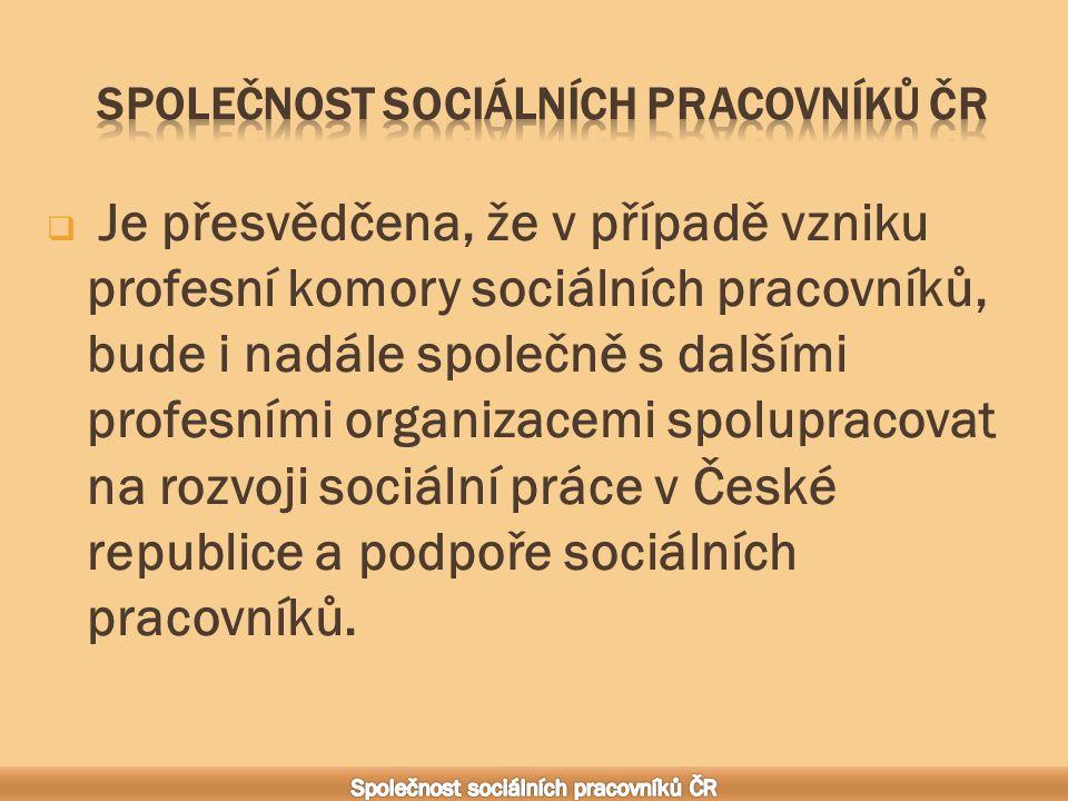  Je přesvědčena, že v případě vzniku profesní komory sociálních pracovníků, bude i nadále společně s dalšími profesními organizacemi spolupracovat na rozvoji sociální práce v České republice a podpoře sociálních pracovníků.