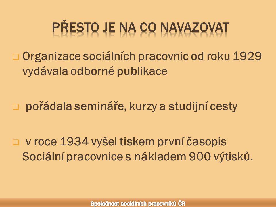  Organizace sociálních pracovnic od roku 1929 vydávala odborné publikace  pořádala semináře, kurzy a studijní cesty  v roce 1934 vyšel tiskem první časopis Sociální pracovnice s nákladem 900 výtisků.