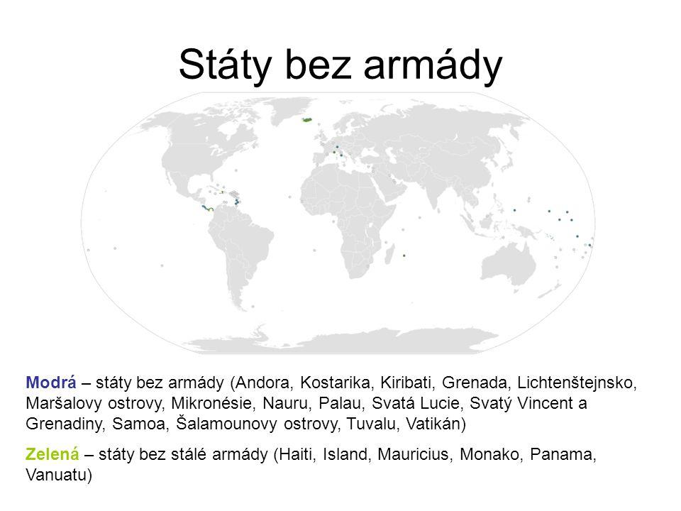 Státy bez armády Modrá – státy bez armády (Andora, Kostarika, Kiribati, Grenada, Lichtenštejnsko, Maršalovy ostrovy, Mikronésie, Nauru, Palau, Svatá Lucie, Svatý Vincent a Grenadiny, Samoa, Šalamounovy ostrovy, Tuvalu, Vatikán) Zelená – státy bez stálé armády (Haiti, Island, Mauricius, Monako, Panama, Vanuatu)