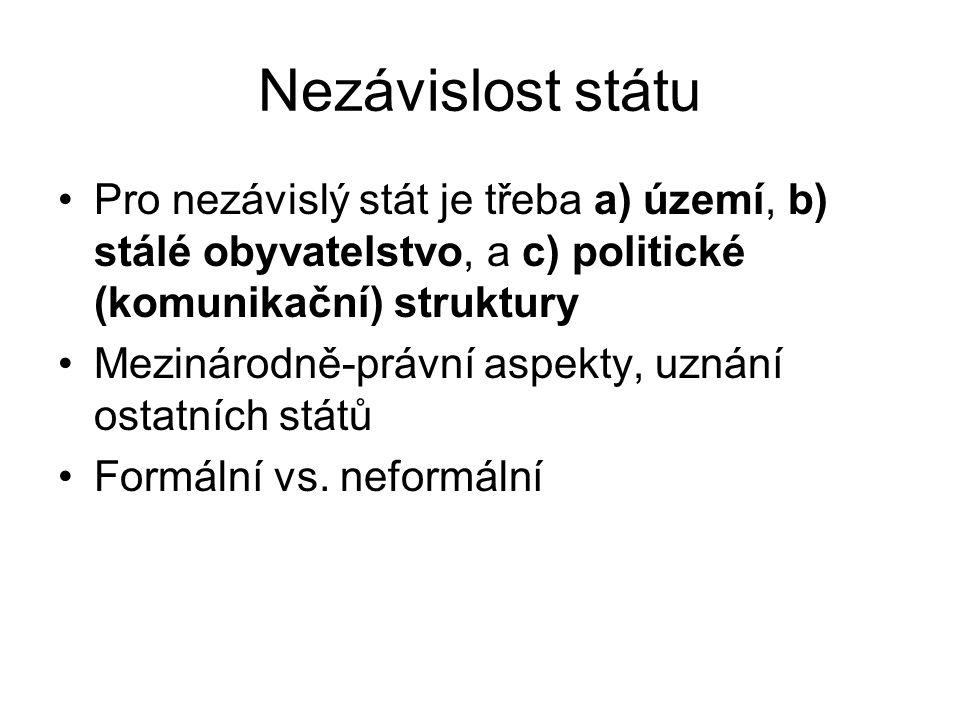 Nezávislost státu Pro nezávislý stát je třeba a) území, b) stálé obyvatelstvo, a c) politické (komunikační) struktury Mezinárodně-právní aspekty, uznání ostatních států Formální vs.
