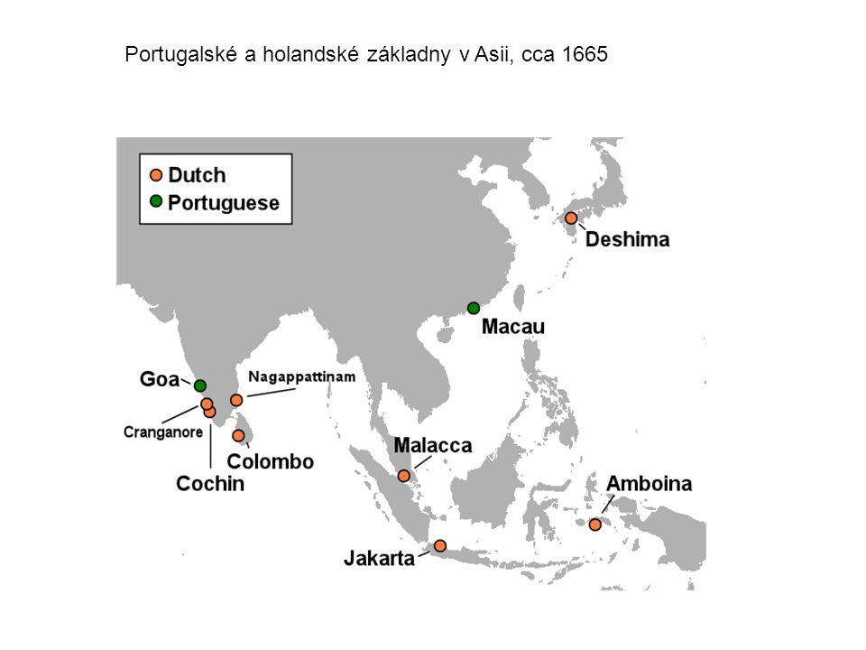 Portugalské a holandské základny v Asii, cca 1665