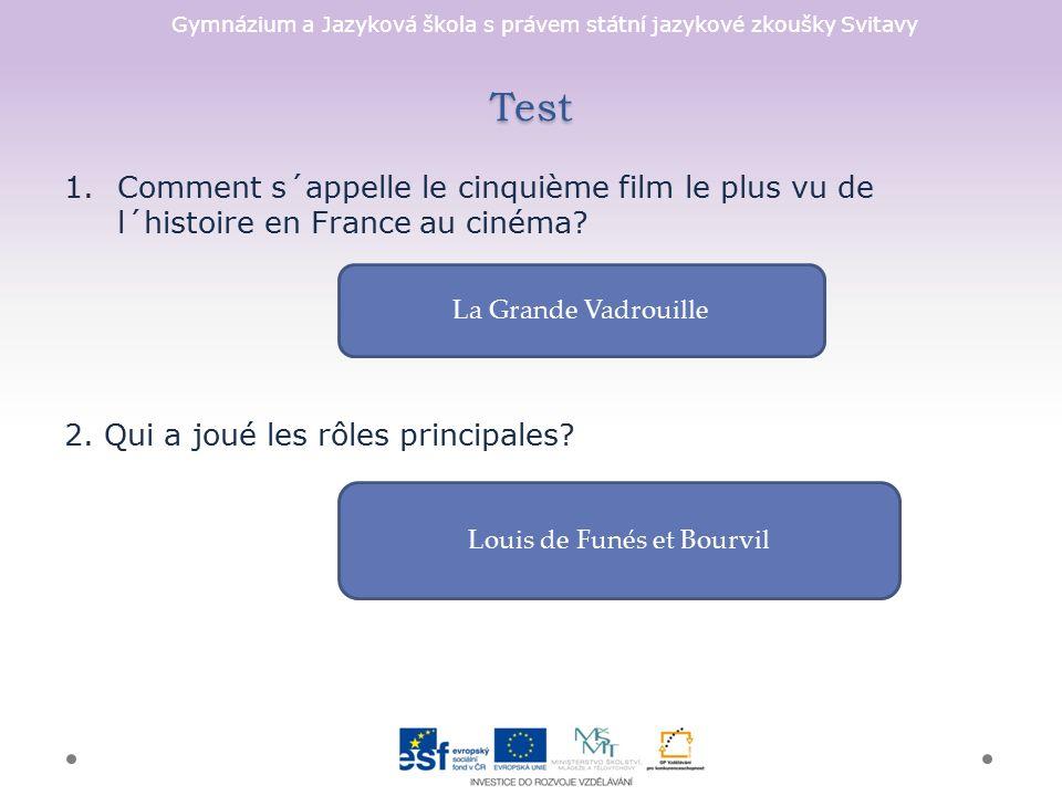 Gymnázium a Jazyková škola s právem státní jazykové zkoušky Svitavy Test 1.Comment s´appelle le cinquième film le plus vu de l´histoire en France au cinéma.