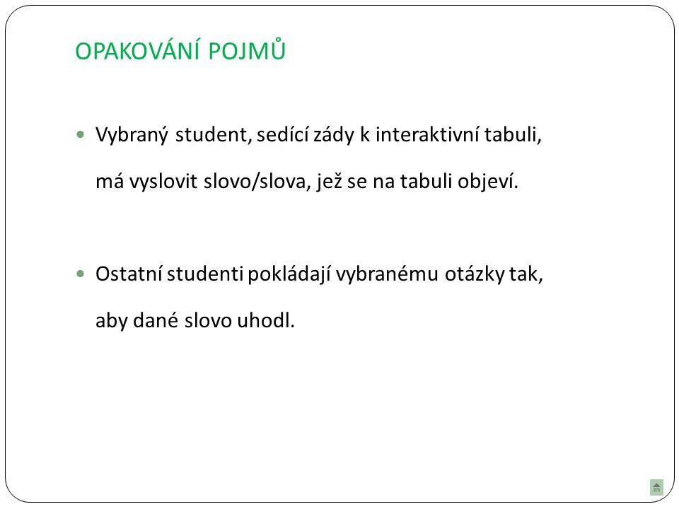 OPAKOVÁNÍ POJMŮ Vybraný student, sedící zády k interaktivní tabuli, má vyslovit slovo/slova, jež se na tabuli objeví.