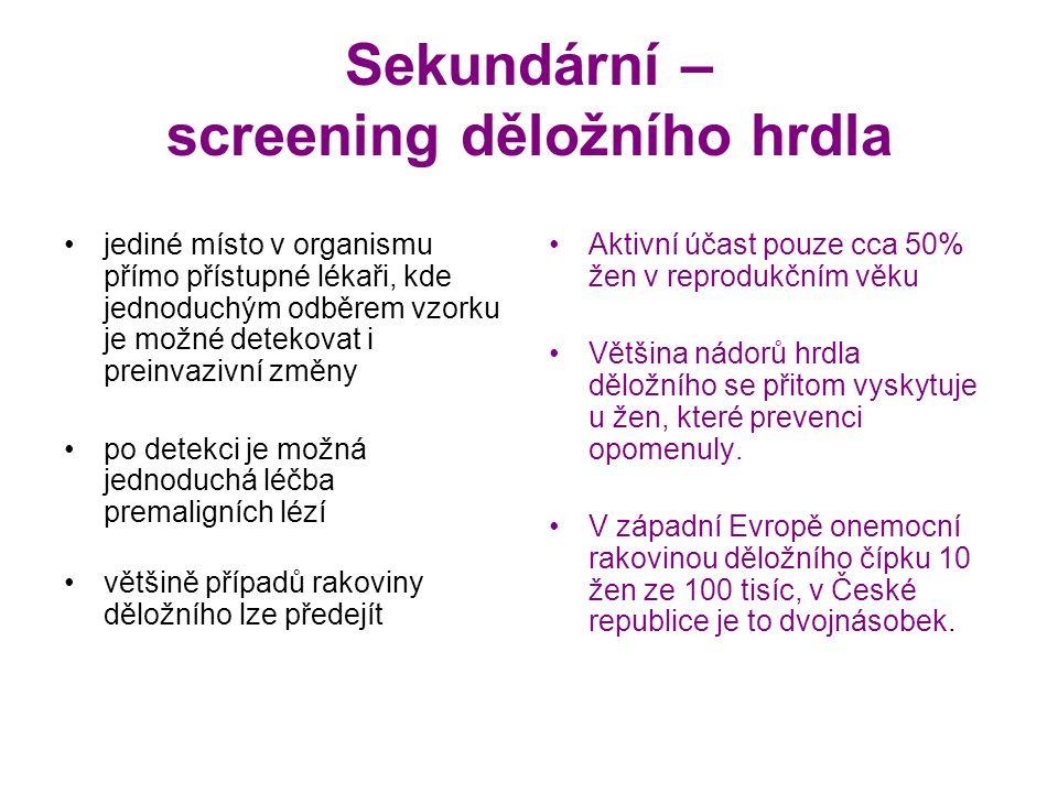 Sekundární – screening děložního hrdla jediné místo v organismu přímo přístupné lékaři, kde jednoduchým odběrem vzorku je možné detekovat i preinvazivní změny po detekci je možná jednoduchá léčba premaligních lézí většině případů rakoviny děložního lze předejít Aktivní účast pouze cca 50% žen v reprodukčním věku Většina nádorů hrdla děložního se přitom vyskytuje u žen, které prevenci opomenuly.