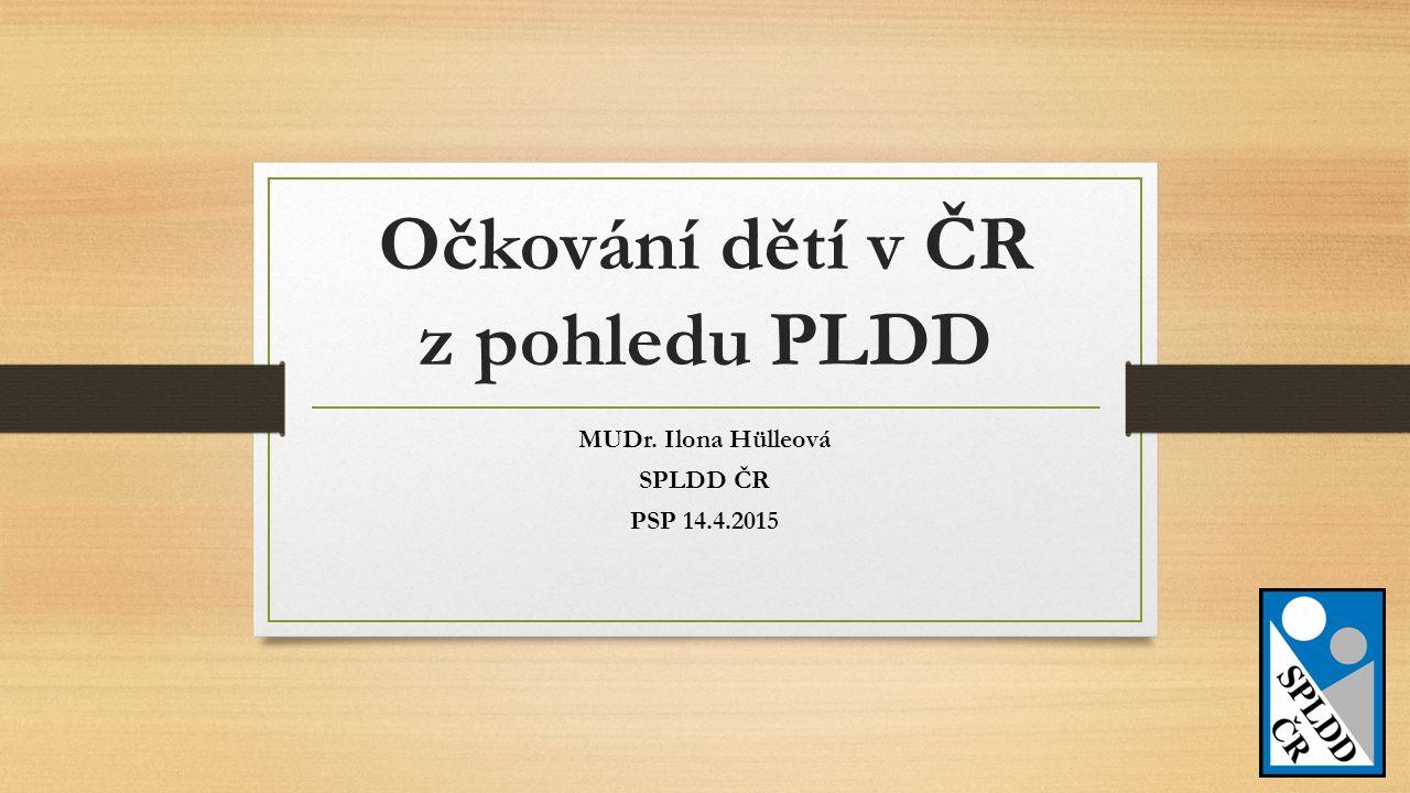 Očkování dětí v ČR z pohledu PLDD MUDr. Ilona Hülleová SPLDD ČR PSP 14.4.2015