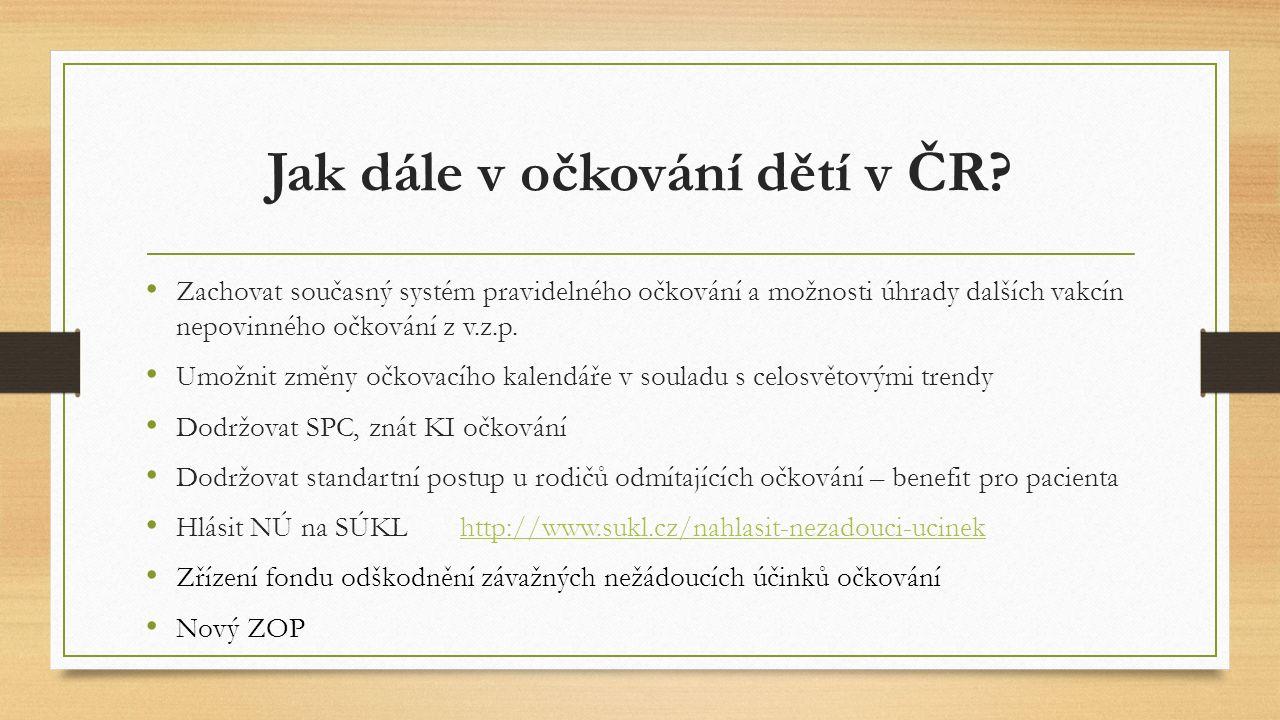 Jak dále v očkování dětí v ČR? Zachovat současný systém pravidelného očkování a možnosti úhrady dalších vakcín nepovinného očkování z v.z.p. Umožnit z