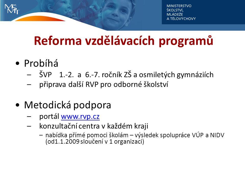 Reforma vzdělávacích programů Probíhá –ŠVP 1.-2. a 6.-7.