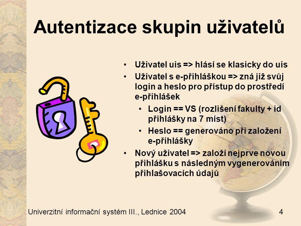 4 Univerzitní informační systém III., Lednice 2004 Autentizace skupin uživatelů Uživatel uis => hlásí se klasicky do uis Uživatel s e-přihláškou => zná již svůj login a heslo pro přístup do prostředí e-přihlášek Login == VS (rozlišení fakulty + id přihlášky na 7 míst) Heslo == generováno při založení e-přihlášky Nový uživatel => založí nejprve novou přihlášku s následným vygenerováním přihlašovacích údajů