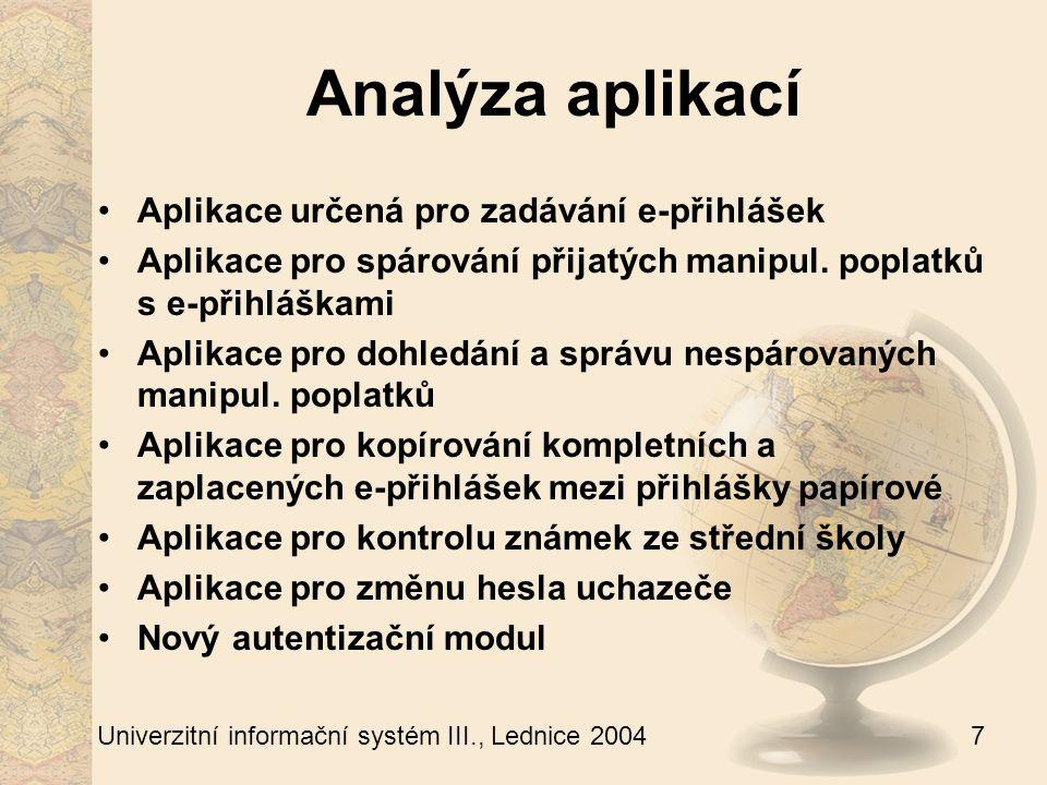 7 Univerzitní informační systém III., Lednice 2004 Analýza aplikací Aplikace určená pro zadávání e-přihlášek Aplikace pro spárování přijatých manipul.