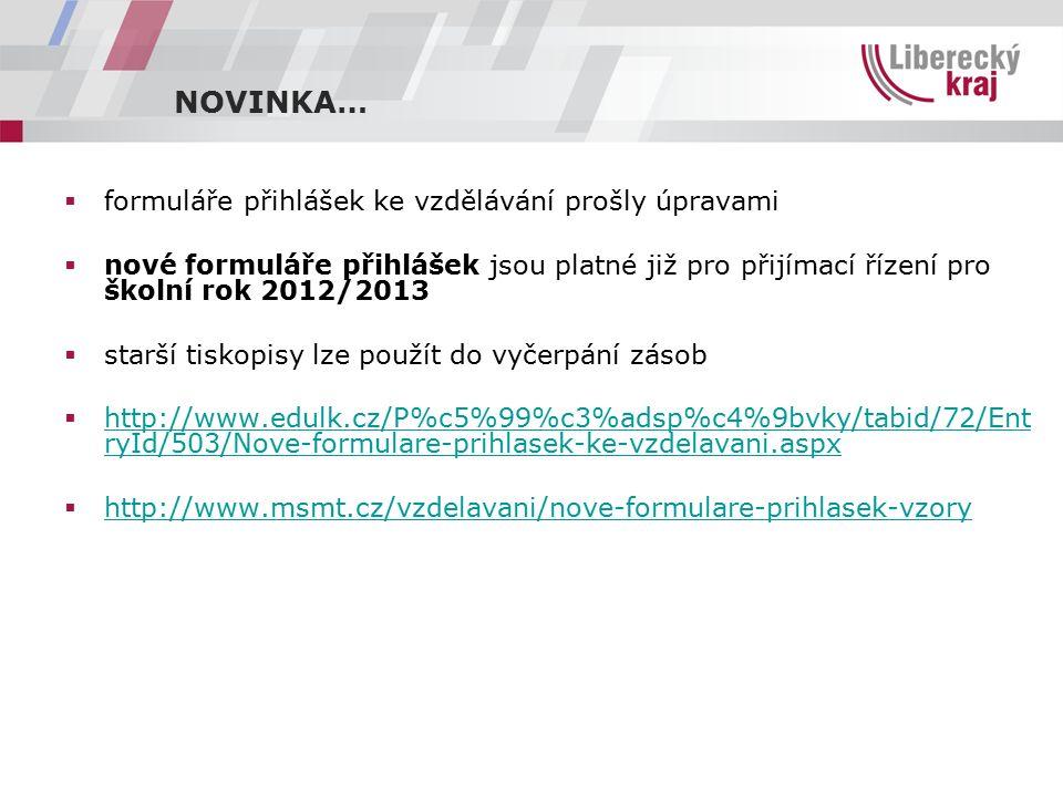 NOVINKA…  formuláře přihlášek ke vzdělávání prošly úpravami  nové formuláře přihlášek jsou platné již pro přijímací řízení pro školní rok 2012/2013