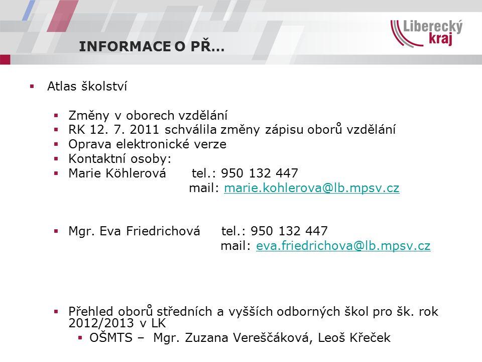 INFORMACE O PŘ…  doporučujeme sledovat:  www.edulk.cz www.