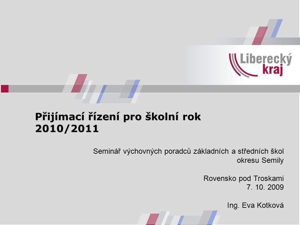 Přijímací řízení pro školní rok 2010/2011 Přijímací řízení pro školní rok 2010/2011 Seminář výchovných poradců základních a středních škol okresu Semily Rovensko pod Troskami 7.