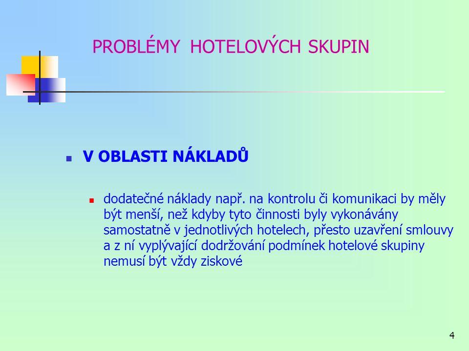 3 PROBLÉMY HOTELOVÝCH SKUPIN V OBLASTI KOMUNIKACE problematika výběru správného komunikačního prostředku V OBLASTI KONTROLY nutnost dodržování stanove