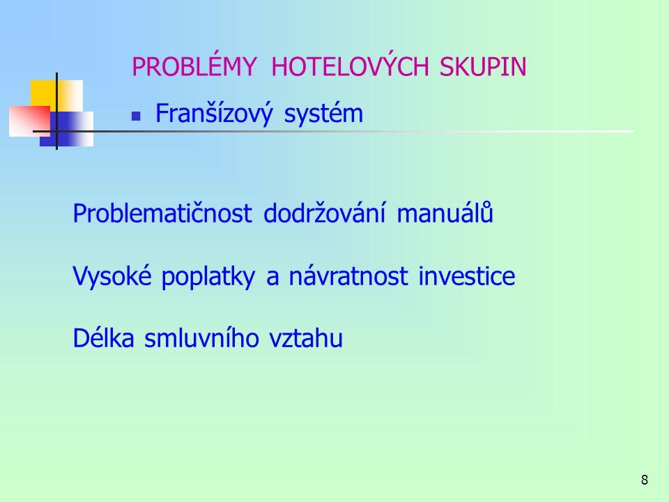 7 PROBLÉMY HOTELOVÝCH SKUPIN Rezervační a marketingový systém, síť Vyšší náklady Omezení většinou pro hotely nižší kategorie Úhrada ročních paušálních