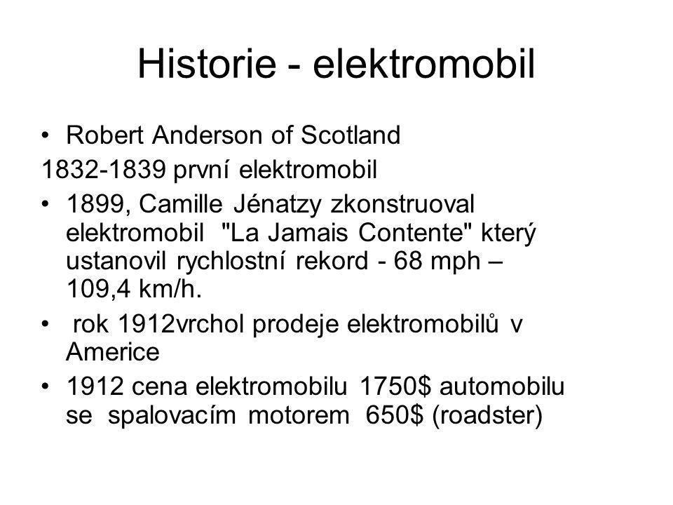 Historie - elektromobil Robert Anderson of Scotland 1832-1839 první elektromobil 1899, Camille Jénatzy zkonstruoval elektromobil La Jamais Contente který ustanovil rychlostní rekord - 68 mph – 109,4 km/h.